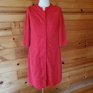 1960s Herbert Levy Red, Ribbed, Poly/Cotton Dress